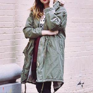 H&M Army Green Faux Fur Utility Parka